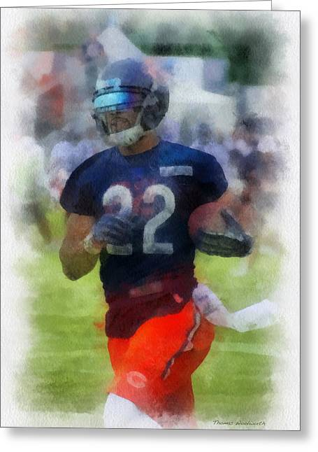 Recently Sold -  - Town Mixed Media Greeting Cards - Chicago Bears RB Matt Forte Training Camp 2014 PA 01 Greeting Card by Thomas Woolworth
