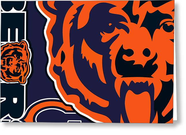 Offense Mixed Media Greeting Cards - Chicago Bears Greeting Card by Tony Rubino