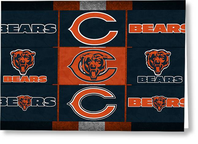 Offense Greeting Cards - Chicago Bears Uniform Patches Greeting Card by Joe Hamilton