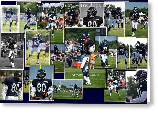 Chicago Bears Wr Armanti Edwards Training Camp 2014 Collage Greeting Card by Thomas Woolworth