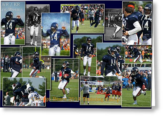 Chicago Bears Wr Eric Weems Training Camp 2014 Collage Greeting Card by Thomas Woolworth