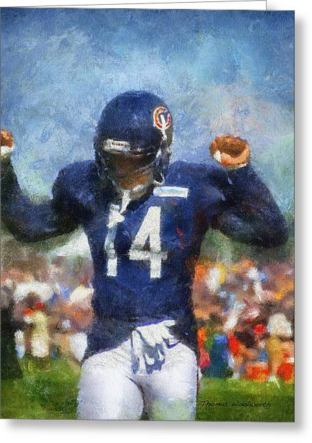 Chicago Bears Wr Eric Weems Training Camp 2014 Photo Art 02 Greeting Card by Thomas Woolworth