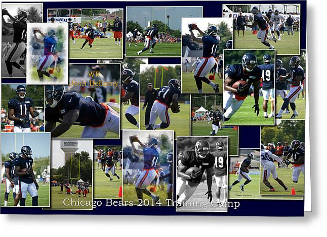 Chicago Bears Wr Josh Bellamy Training Camp 2014 Collage Greeting Card by Thomas Woolworth