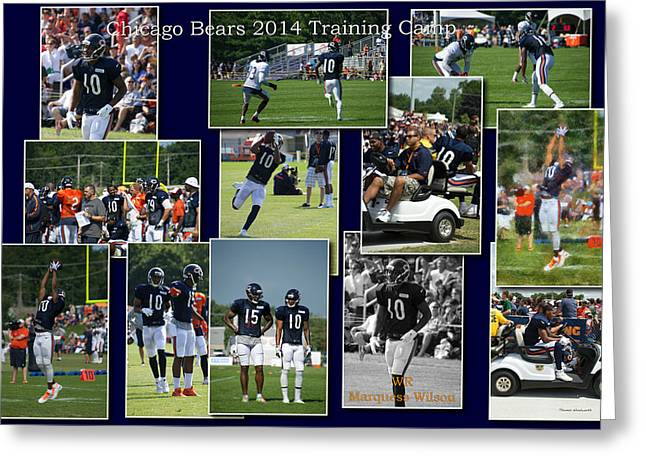Chicago Bears Wr Marquess Wilson Training Camp 2014 Collage Greeting Card by Thomas Woolworth