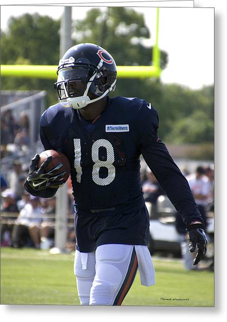 Chicago Bears Wr Micheal Spurlock Training Camp 2014 01 Greeting Card by Thomas Woolworth