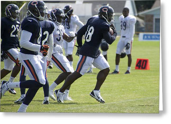 Chicago Bears Wr Micheal Spurlock Training Camp 2014 05 Greeting Card by Thomas Woolworth
