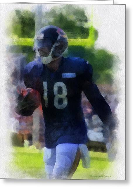 Chicago Bears Wr Micheal Spurlock Training Camp 2014 Pa 01 Greeting Card by Thomas Woolworth