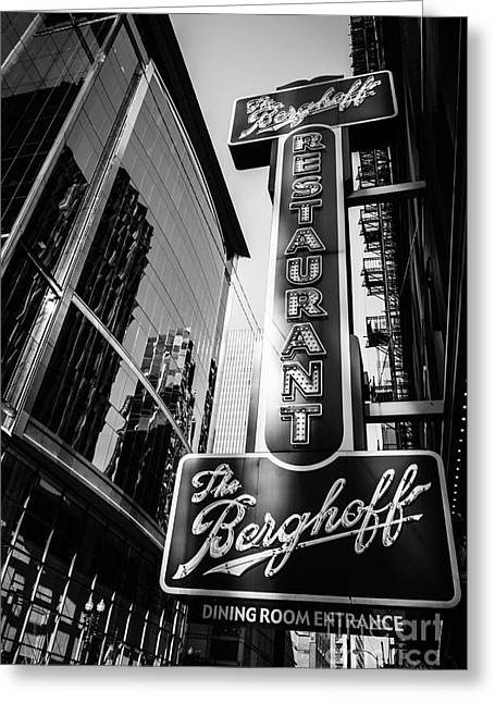 Berghoff Greeting Cards - Chicago Berghoff Restaurant Sign in Black and White Greeting Card by Paul Velgos