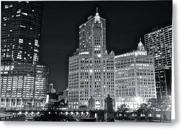 Columbus Greeting Cards - Chicago Black and White Night Greeting Card by Frozen in Time Fine Art Photography