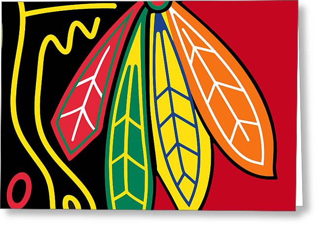 Action Sports Prints Greeting Cards - Chicago Blackhawks 2 Greeting Card by Tony Rubino
