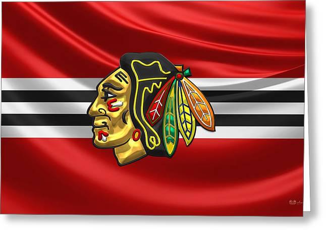 Hockey Art Greeting Cards - Chicago Blackhawks - 3D Badge over Silk Flag Greeting Card by Serge Averbukh