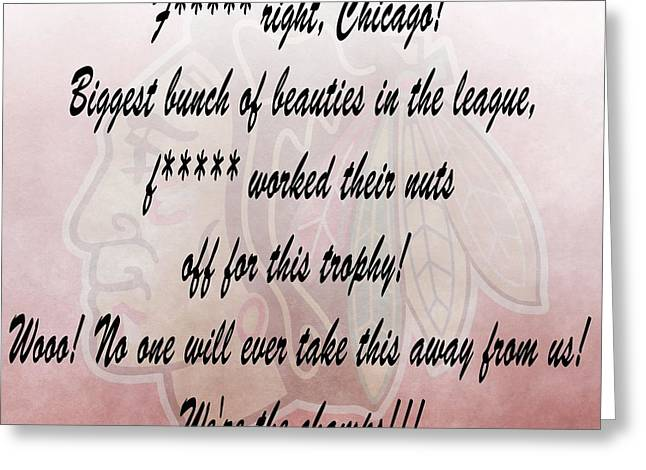 Chicago Blackhawks Crawford's Speech Greeting Card by Dan Sproul