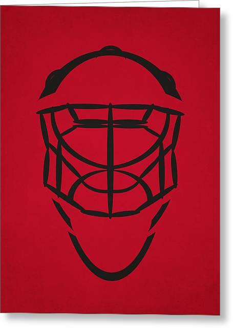Ice-skating Greeting Cards - Chicago Blackhawks Goalie Mask Greeting Card by Joe Hamilton