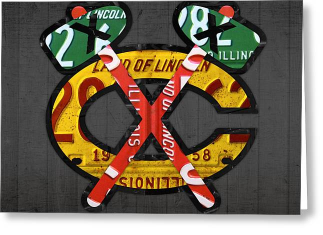 Recycled Greeting Cards - Chicago Blackhawks Hockey Team Retro Logo Vintage Recycled Illinois License Plate Art Greeting Card by Design Turnpike