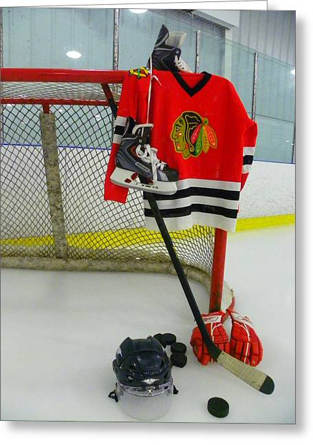Glove Greeting Cards - Chicago Blackhawks Home Hockey Jersey Greeting Card by Lisa Wooten