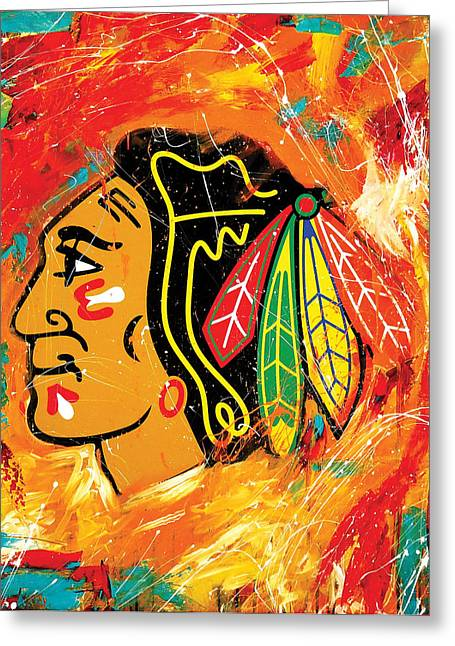 Hockey Paintings Greeting Cards - Chicago Blackhawks logo Greeting Card by Elliott From
