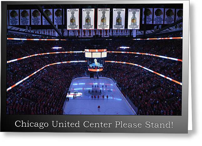 Ice-skating Greeting Cards - Chicago Blackhawks Please Stand Up With White Text SB Greeting Card by Thomas Woolworth