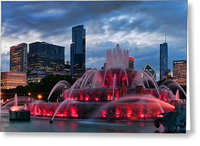 Fountain Greeting Cards - Chicago Blackhawks Skyline Greeting Card by Jeff Lewis