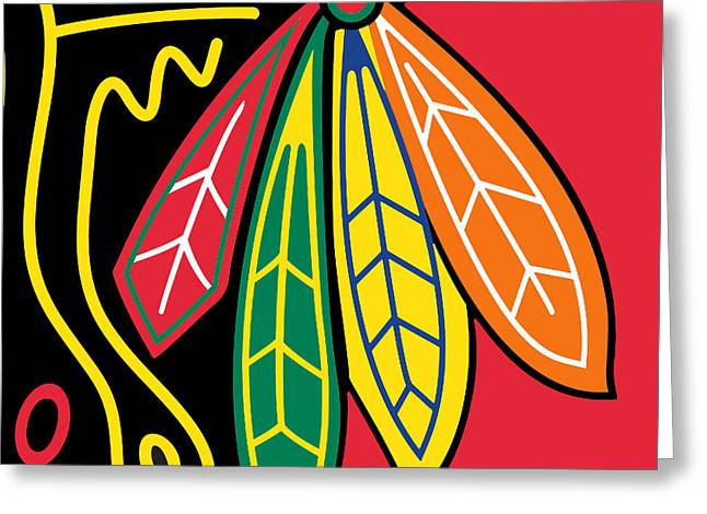 Puck Paintings Greeting Cards - Chicago Blackhawks Greeting Card by Tony Rubino