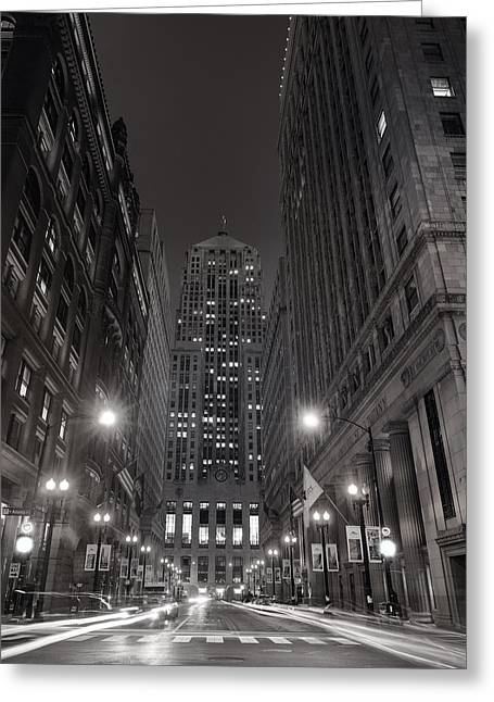 Lasalle Greeting Cards - Chicago Board of Trade B W Greeting Card by Steve Gadomski