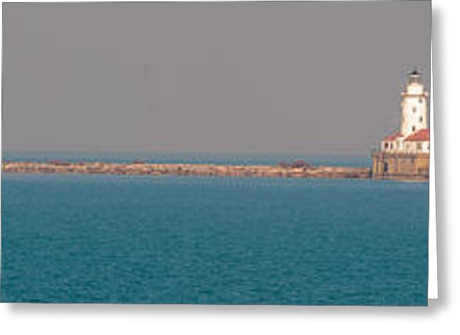 Chicago Breakwater And Lighthouse Greeting Card by Cliff C Morris Jr