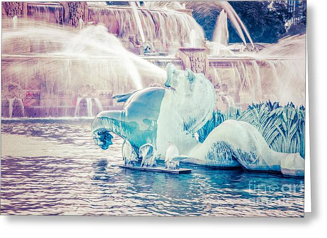 Chicago Landmark Greeting Cards - Chicago Buckingham Fountain Seahorse Retro Picture Greeting Card by Paul Velgos