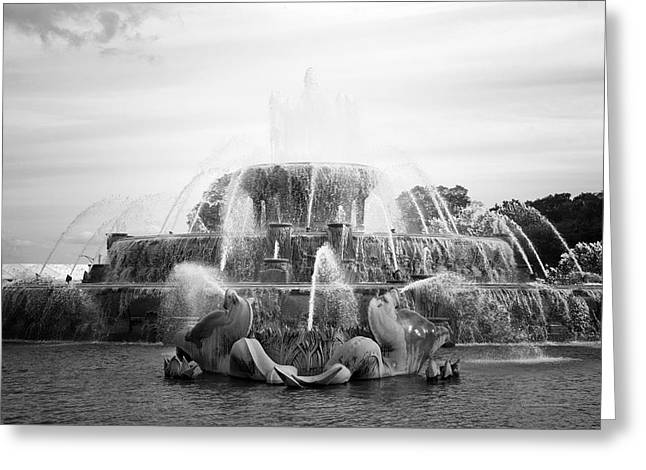 Steel Greeting Cards Greeting Cards - Chicago Buckingham Fountain Statue BW Greeting Card by Thomas Woolworth
