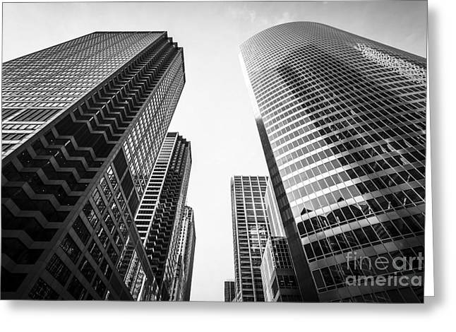 Low-angle Greeting Cards - Chicago Buildings Black and White Greeting Card by Paul Velgos