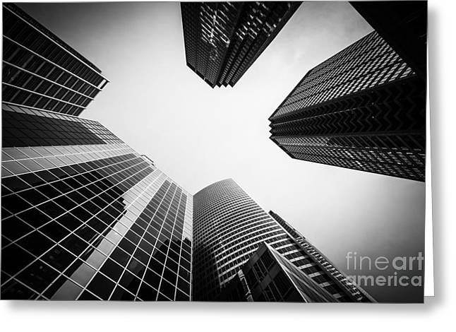 Low-angle Greeting Cards - Chicago Buildings in Black and White Greeting Card by Paul Velgos