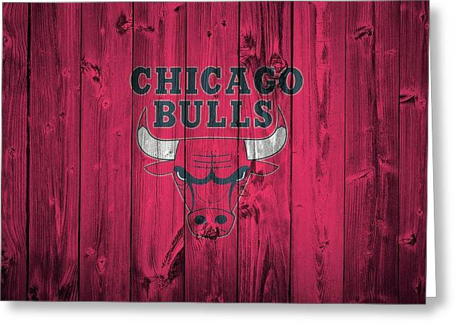 Chicago Bulls Mixed Media Greeting Cards - Chicago Bulls Barn Door Greeting Card by Dan Sproul