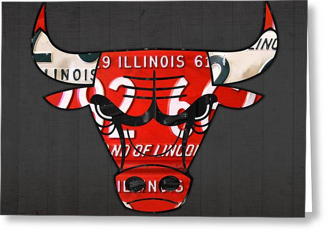 Chicago Bulls Mixed Media Greeting Cards - Chicago Bulls Basketball Team Retro Logo Vintage Recycled Illinois License Plate Art Greeting Card by Design Turnpike