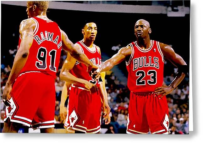 Recently Sold -  - Patrick Ewing Greeting Cards - Chicago Bulls Big 3 Greeting Card by Brian Reaves