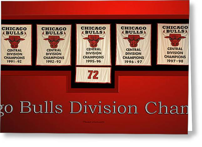 Jordan Mixed Media Greeting Cards - Chicago Bulls Division Champions Banners Greeting Card by Thomas Woolworth