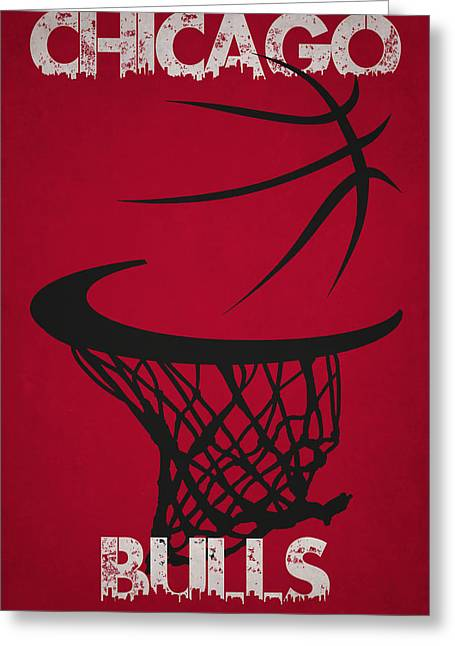Recently Sold -  - Dunk Greeting Cards - Chicago Bulls Hoop Greeting Card by Joe Hamilton