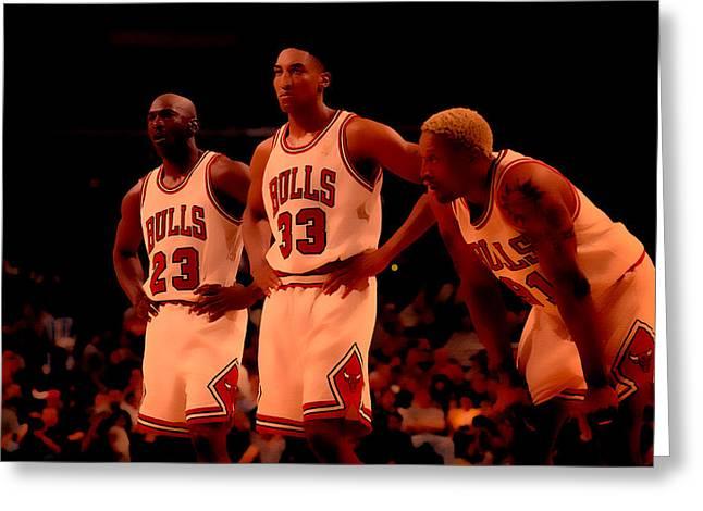Nike Air Jordan Greeting Cards - Air Jordan and Crew Greeting Card by Brian Reaves