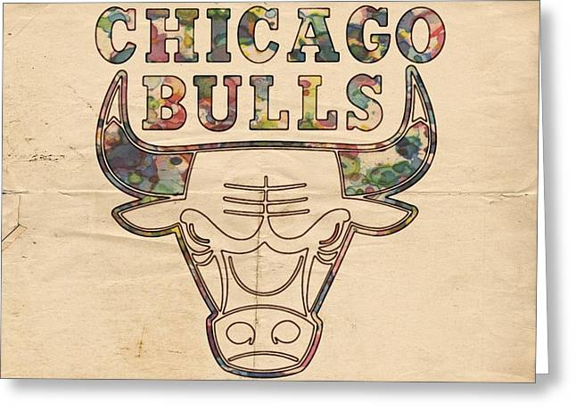Best Sellers -  - Slamdunk Greeting Cards - Chicago Bulls Logo Vintage Greeting Card by Florian Rodarte