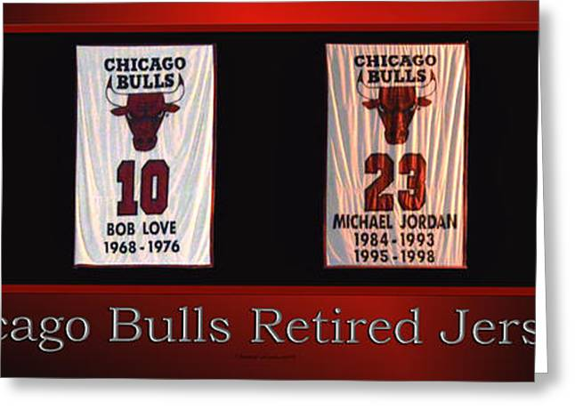 Chicago Bulls Mixed Media Greeting Cards - Chicago Bulls Retired Jerseys Banners Greeting Card by Thomas Woolworth