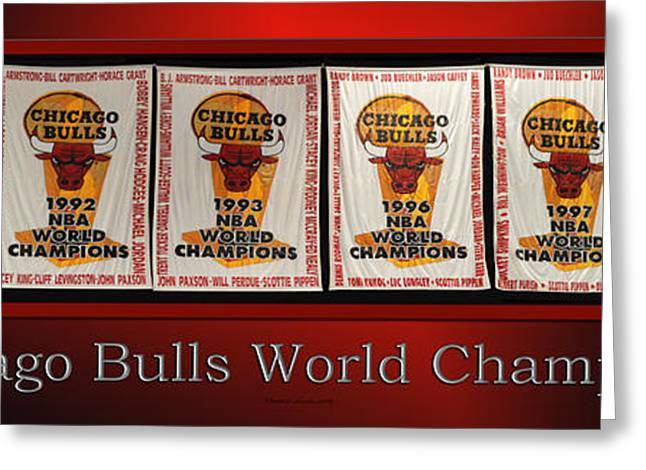 Pippen Mixed Media Greeting Cards - Chicago Bulls World Champions Banners Greeting Card by Thomas Woolworth
