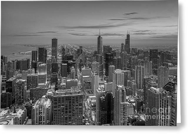 Chicago Greeting Cards - Chicago BW Greeting Card by Jeff Lewis