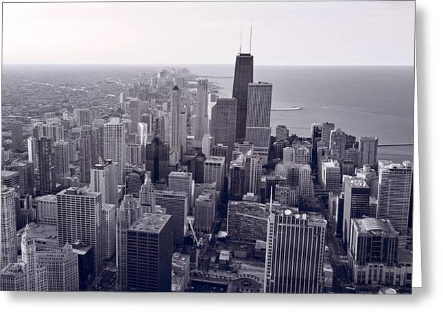 Aerial Greeting Cards - Chicago BW Greeting Card by Steve Gadomski
