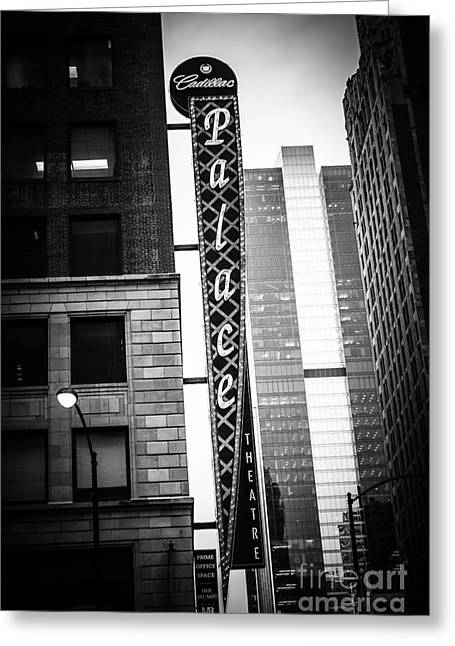 Theatre Photographs Greeting Cards - Chicago Cadillac Palace Theatre Sign in Black and White Greeting Card by Paul Velgos