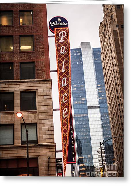 Chicago Loop Greeting Cards - Chicago Cadillac Palace Theatre Sign Greeting Card by Paul Velgos