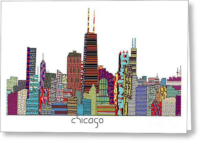 Chicago Artist Greeting Cards - Chicago city  Greeting Card by Bri Buckley