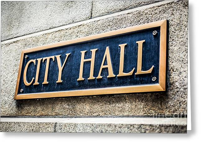 Municipal Greeting Cards - Chicago City Hall Sign Greeting Card by Paul Velgos