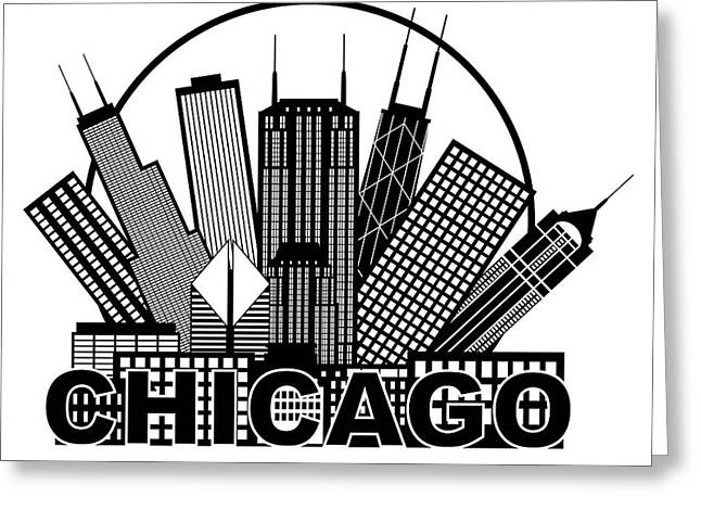 Chicago Circle Greeting Cards - Chicago City Skyline Black and White in Circle Illustration Greeting Card by JPLDesigns
