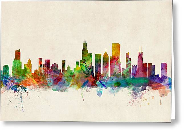 Chicago Digital Greeting Cards - Chicago City Skyline Greeting Card by Michael Tompsett