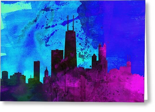 Horizon Paintings Greeting Cards - Chicago City Skyline Greeting Card by Naxart Studio