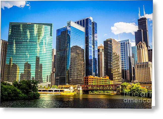 Riverfront Greeting Cards - Chicago City Skyline Greeting Card by Paul Velgos