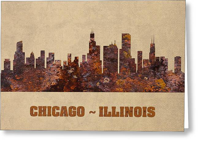 Chicago City Skyline Rusty Metal Shape On Canvas Greeting Card by Design Turnpike