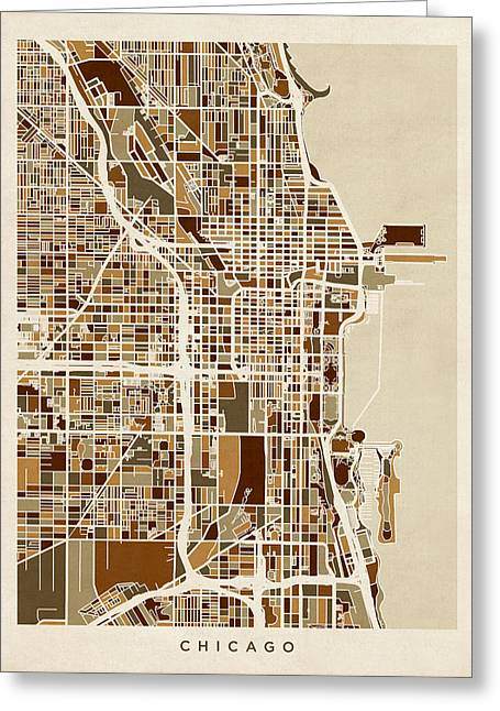 America City Map Greeting Cards - Chicago City Street Map Greeting Card by Michael Tompsett